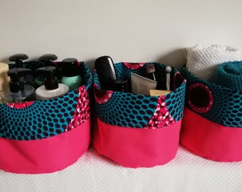 Set of 3 baskets in canvas and wax