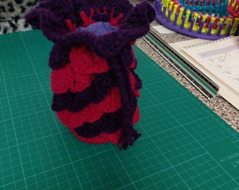 Red and plum Dragon scale crocheted dice bag