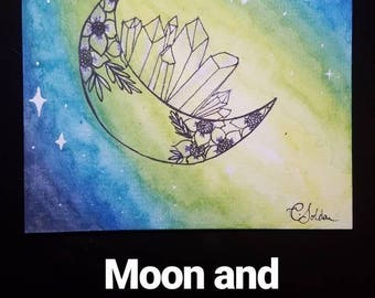 Moon and Crystals Watercolor Painting