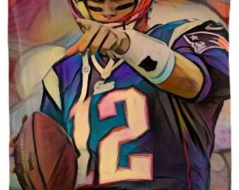 Tom Brady - Tom Brady Blanket,Tom Brady Throw,Tom Brady Art,Tom Brady Fleece Throw,Tom Brady Gift,Tom Brady Merch,Modern Abs