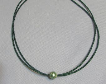 Double strand green Beads Necklace