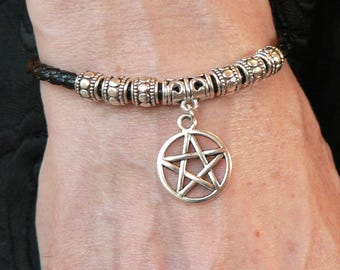 Pentacle Bracelet on Adjustable Black Synthetic Leather Thong - Pagan Wicca