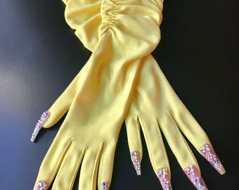 Sunshine Yellow Vintage Nail Gloves