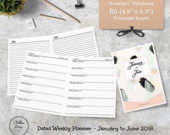 2018 Planner Weekly and Monthly, Planner Refill 2018, 6 Month Planner 2018, Week on One Page, B6 Insert Printable, January-June 2018 Planner