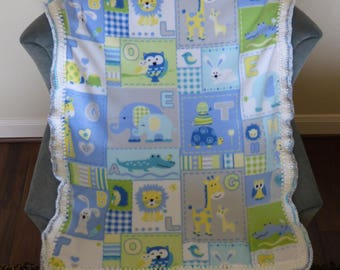 Blue Patchwork Fleece with Crochet edges baby blanket - FREE Shipping