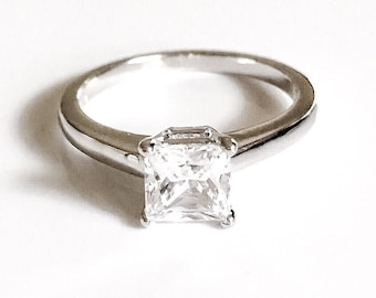 1ct princess cut sterling silver ring