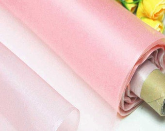 Pearl Pink 100% Real Silk Organza Fabric Natural Silk Material for Wedding Bridal Dress (yza-11043-Yards /Meter or samples)online for sale