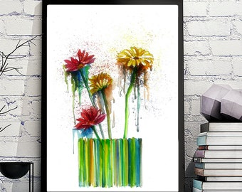 Watercolor flowers, larges prints, Watercolor posters, home prints, posters flowers, Nursery Décor, Home Décor, poster, watercolor print