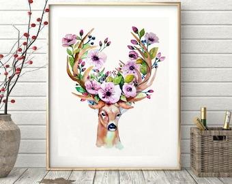 Bohemian Buck Wildlife Printable Digital Art Watercolor Floral Wall Art Deer Printable Woodland Home Office Dorm Decor