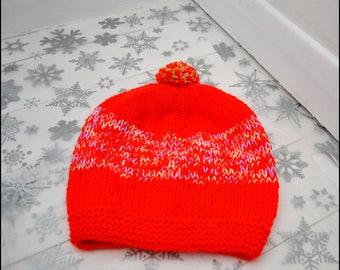 Adult Hat, Hand Knitted Bobble Hat, Pom Pom Hat, Hat for Him, Hat for Her, Beanie Hat, Stocking Filler, Secret Santa Gift, Knitted Hats,