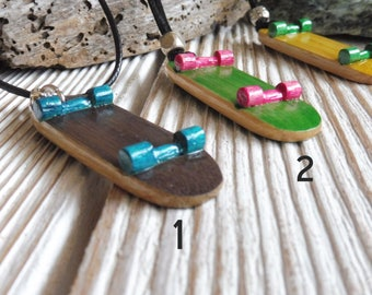 Bamboo Wood Skateboard Necklace, Skateboard Pendant, Handmade Skater Necklace, Skate Board Jewelry On Synthetic Cord !