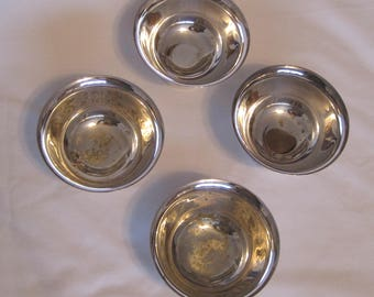 """SPECIAL American Silverplate Set of Four Small Nut/Mint Ribbed Pedestal Bowls (""""Paul Revere Design"""")"""