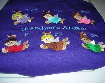 Custom embroidered personalized grandma mom aunt angels sweatshirt great gift