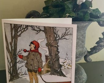 """Set of 6 blank notecards, size A2, 1918 vintage illustration """"Snowflakes"""" by Blanche Fisher Wright"""