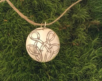 Hand engraved sterling necklace pendant