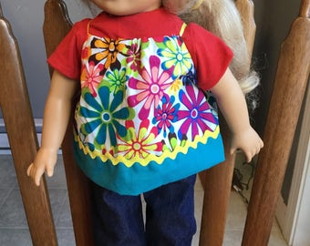 "Knit shirt and came with jeans fit 18"" dolls such as American girl"
