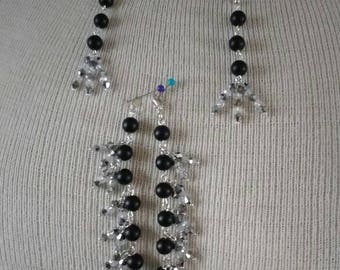 BLACK ONYX With Crystal Bead Necklace Bracelet & Earrings Set