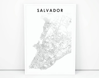 salvador map print brazil map art poster city street road map print nursery