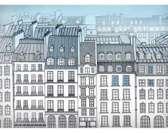 Paris print, streets of paris, paris in bleu, illustration, home decor, romantic gift