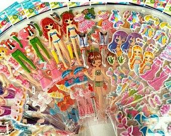 Mermaid Puffy Stickers,Dress Up  Sticker,Stickers For Girls,Sticker For Children,DIY For Kids,Art Craft For Preschool,Children Craft
