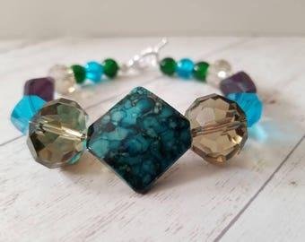 Blue/Green Glass Beaded Bracelet