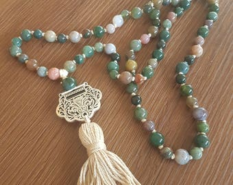 Hand-knotted crystal mala