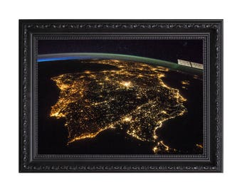 Earths Atmosphere 'Iberian Peninsula at Night' Nasa Poster or Art Print