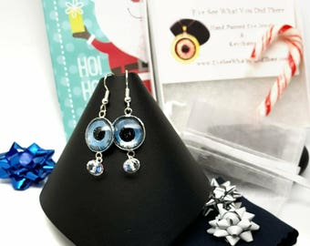 Glow in the Dark Evil Eye Earrings\ Blue Evil Eye\ Blue Earrings\ UV Reactive Jewelry\ Gift Idea for Her\ Hand Painted Evil Eye\ Trendy