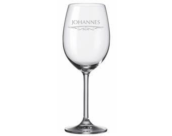 "Leonardo Wine glass with personalized engraving with motif ""name"" with desired name engraved individually"