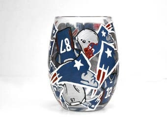 Patriots Stemless Collage Wine Glass