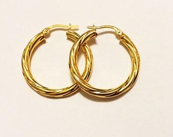 """14k solid yellow gold(1.25""""inch)Italian swirly hoop earrings"""