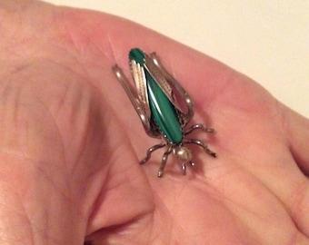 Silver and Malachite cricket pin