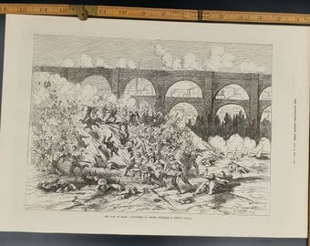 War in Spain Volunteers of Teruel Repelling a Carlist Attack Large Antique Engraving