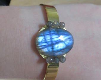 Blue Labradorite Gold Bracelet