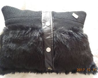 entirely hand made faux fur pillow