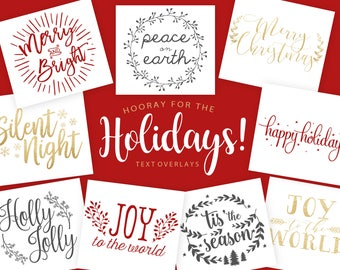 Holiday Overlays - Christmas Text Overlays - Text Overlays - Holiday Phrases - Photography Overlays - Watermarks - Colored Overlays