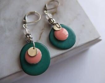 Green Tagua earrings, pink enamel and qwartz
