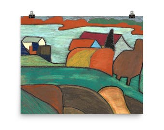 French Farm House in the Hills - Beautiful Archival Cotton Rag Fine Art Giclée Print Supporting the Nonprofit Fresh Artists