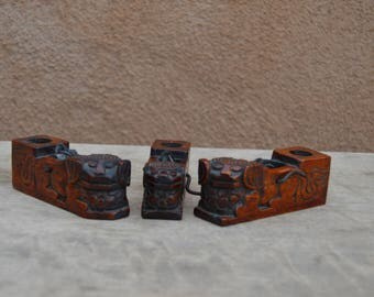 "Vintage Chinese carved wooden Food dogs, pair.  Painted and gilded.  4"" tall, 1.25"" wide, 3"" deep"