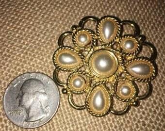 Vintage Pearl Brooch in Goldtone Setting, Signed