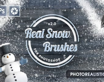 Real Snow Brushes - Photoshop brush frozen effect falling flakes flake winter snowscape Christmas Overlay snowy snowbrush elements
