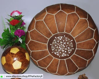 Rustic Moroccan pouf made out of Natural Genuine leather 100% Leather Authentic Moroccan Pouf Handcrafted