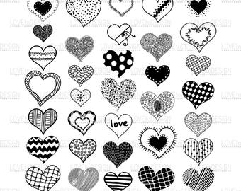Hearts Doodles, Hearts Svg, Love, Hearts Hand drawn, Svg, Png, Eps, Jpg file, Hearts Digital, Printable