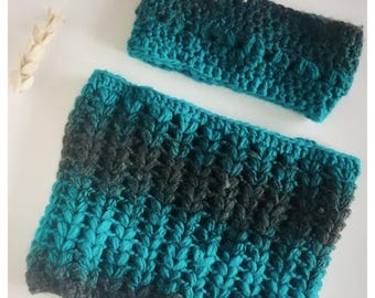Sale Women crichet infinity scarf headband /scarf and head band/ crochet scarf/ gift for her/ ear warmer/ blue scarf