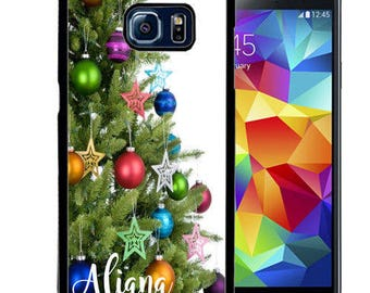 Christmas Personalize Rubber Case For Samsung Note 3, Note 4, Note 5, or Note 8- Christmas Tree