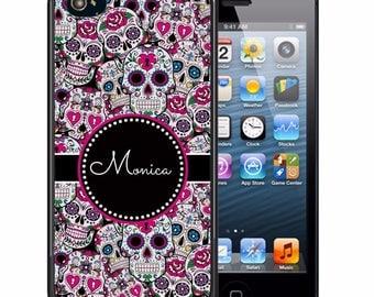Personalized Rubber Case For iPhone X, 8, 8 plus, 7, 7 plus, 6s, 6s plus, 5, 5s, 5c, SE - Sugar Skulls