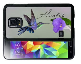 Personalize Rubber Case For Samsung Note 3, Note 4, Note 5, or Note 8-  Humming Bird Purple