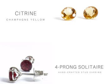 6MM NATURAL CITRINE SOLITAIRE Stud Earring
