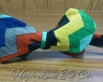 Multi-color stripped self-tie bow tie