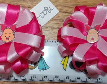 Piglet from Winnie the Pooh Satin Hair Bow with Alligator Barrette Clip
